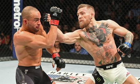 NEW YORK, NY - NOVEMBER 12:  Eddie Alvarez of the United States (left) fights against Conor McGregor of Ireland in their lightweight championship bout during the UFC 205 event at Madison Square Garden on November 12, 2016 in New York City.  (Photo by Jeff Bottari/Zuffa LLC/Zuffa LLC via Getty Images)
